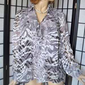 JONES NEW YORK Animal Print Button Down Shirt 16W